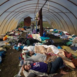 Syrian people sleep inside a greenhouse at a makeshift camp for asylum seekers near Roszke, southern Hungary, Sunday, Sept. 13, 2015. Hundreds of thousands of Syrian refugees and others are still making their way slowly across Europe, seeking shelter where they can, taking a bus or a train where one is available, walking where it isn't. (AP Photo/Muhammed Muheisen)