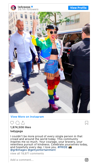 Lady Gaga supporting the LGBTQ community