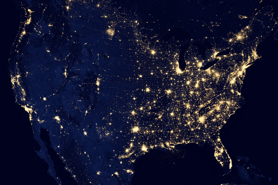 Map of the USA from outer space