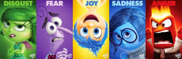 The characters of different emotions from the Pixar movie Inside Out
