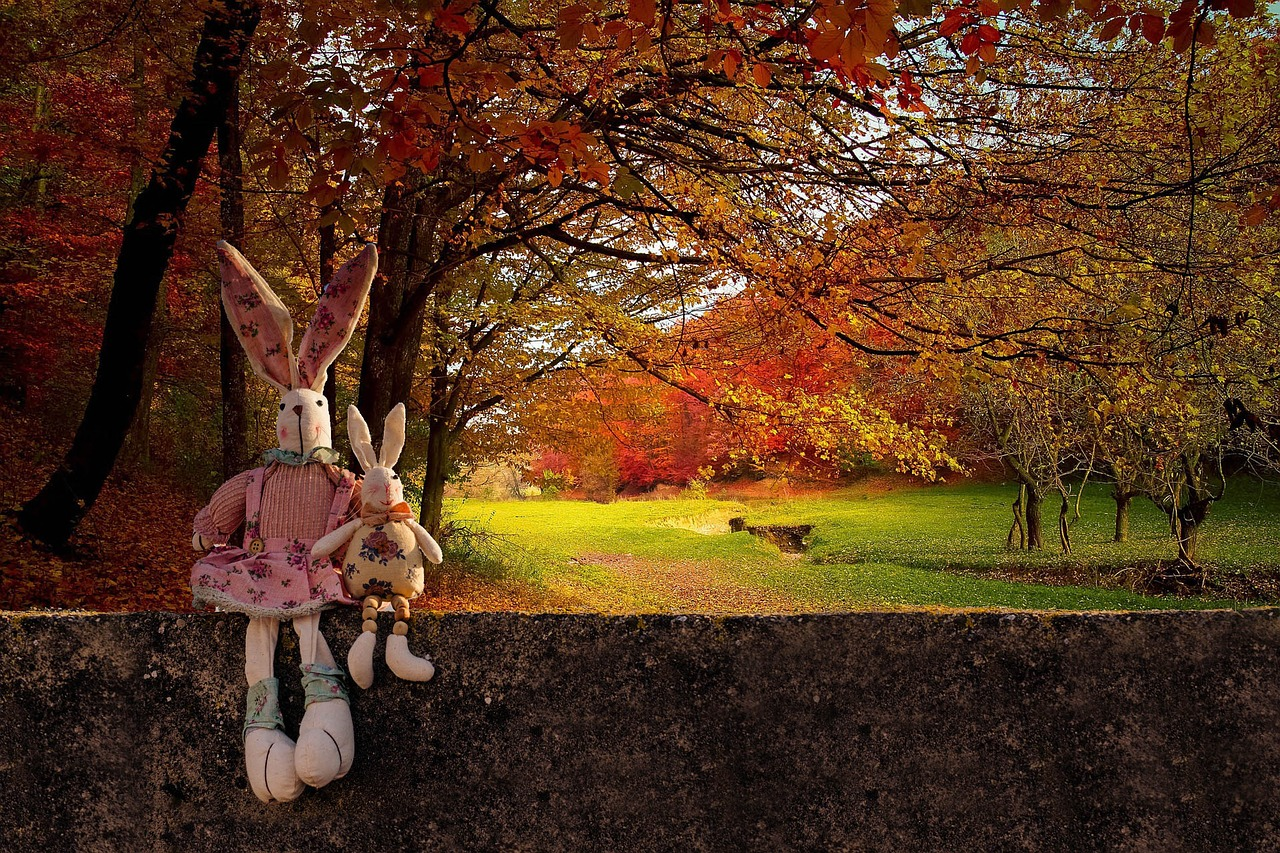 Autumn image with rabbits